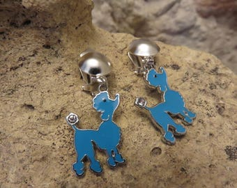 Clip earrings blue small poodles