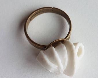 Handmade white porcelain ring / / birthday gift for her / / handmade poetry jewelry / /.
