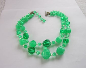 Retro Large Green Faceted Early Plastic Beaded Double Strand Necklace