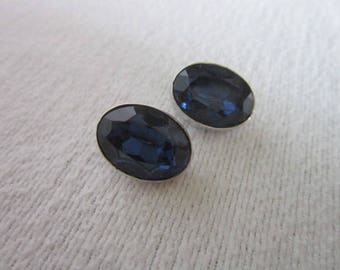 Vintage Les Bernard Silver Tone & Blue Glass Clip on Earrings
