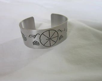 Vintage Native American Engraved Aluminum Cuff Bracelet