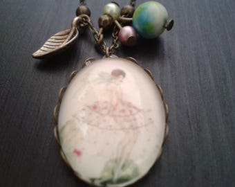 """necklace """"under the skirts"""" cabochon, jade charm"""