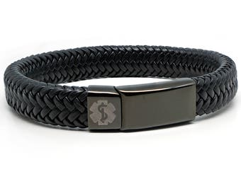 Black Medical Alert ID SOS Bracelet with Soft Waterproof Leather - Personalised - Any Engraving on Front and Back -  17 19 21 23cm