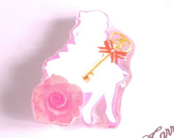 Alice, key and pink and white flower brooch