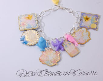 Nautical theme, pastels charm bracelet