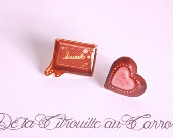 Strawberry and chocolate ear studs