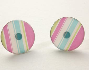 Earrings round earrings, studs, pink, blue and green stripes, lime