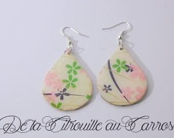 Earrings Asian cherry blossoms, Teardrop shape, pink and beige