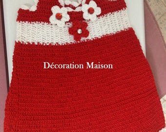Christmas red and white crochet baby dress