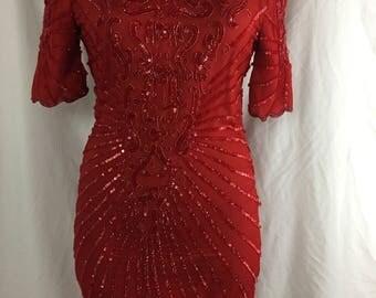 Vtg Red Sequin Dress (size 4)