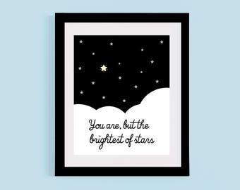 Brightest of Stars Illustration,digital download,printable, nursery quote