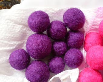 set of 10 purple felted wool beads