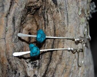 "Earrings ""Pearl rain"", turquoise"