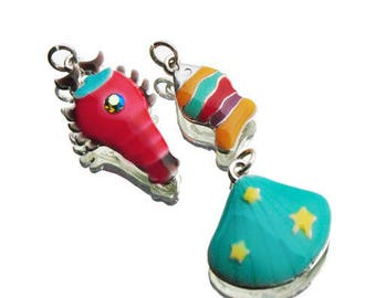 Lobster Seashell and multi coloured enamelled metal fish charms