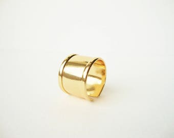 Gold metal adjustable band ring