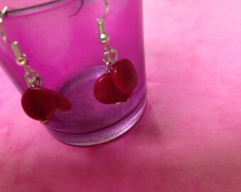 vegetable ivory earrings cluster hot pink