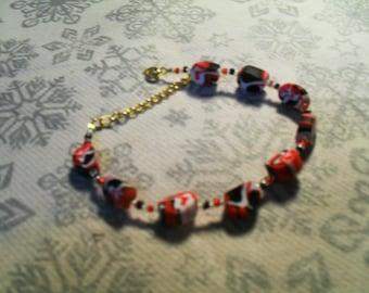 Bracelet trend, stylish, summery, original (painting red, white and black)