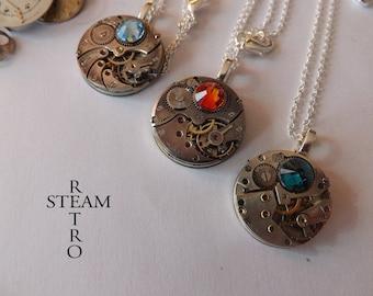 Steampunk watch mechanism Swarovski necklace