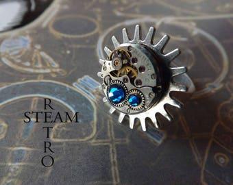 Blue retro steampunk ring