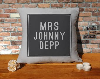 Johnny Depp Pillow Cushion - 16x16in - Grey