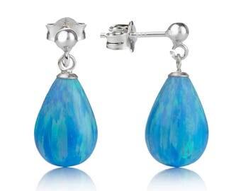 Blue Opal Silver Drop Earrings