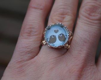 """""""Birds"""" Silver adjustable cabochon ring"""