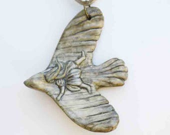 child, ivory, bird necklace, amulet, figurine, fairy, elven, fantasy, modeling, art, Antique ivory look AtelierduFaune,