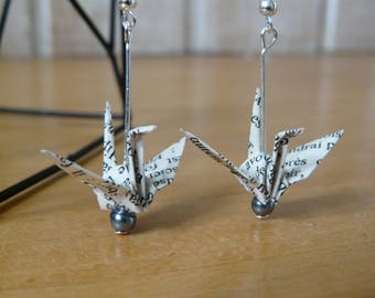 Book origami paper crane earrings