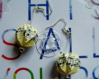 Origami earrings music notes paper balls