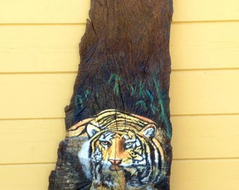 Painting acrylic Tiger on wood Board.