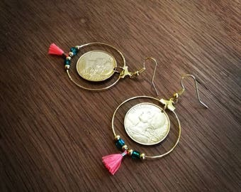 Earrings recycling pieces 20 cents Francs tassels