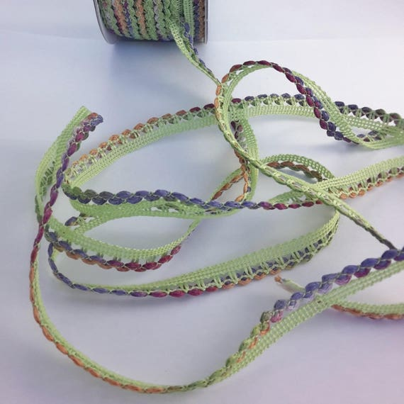 Multicolored fancy Ribbon anise green color