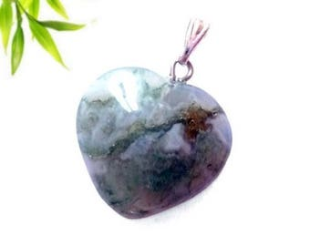 Silver plated - Moss agate heart pendant