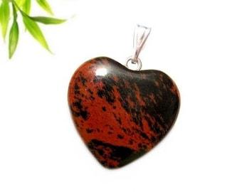 Silver plated - mahogany (mahogany) Obsidian heart pendant