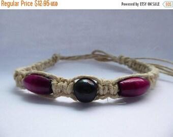 ON SALE Handmade Hemp Bracelet/Anklet with Purple & Black Wooden Beads