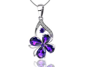 Austrian crystal, 925 Sterling Silver Flower Necklace