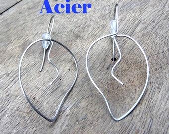 These earrings steel... leaves Stud Earrings