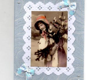 308 - Vintage greeting card girl in winter
