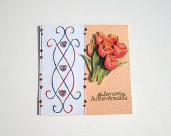 24 - Embroidered card 3d happy birthday tulips