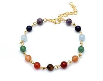 Multicolored beads and gold filled bracelet
