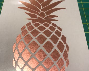 Rose Gold Pineapple Vinyl Decal - 3 or 4 inch