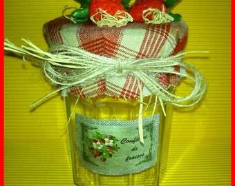 Decorative jar strawberries fimo