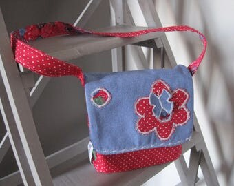 handbag fabric blue jeans and Red shoulder strap and flap flowers butterfly...