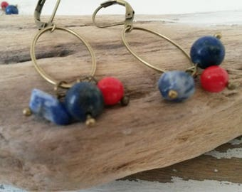 Stud Earrings red and blue