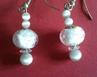 White glass Pearl Earrings