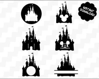 Disney Castle svg, Disney svg, mickey svg, mickey mouse svg, dxf, Disney Castle Silhouette, Clipart DXF Vector