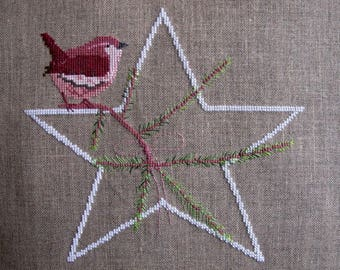 Pink bird embroidery on White Star