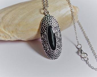 Black enameled Marquise shape pendant necklace
