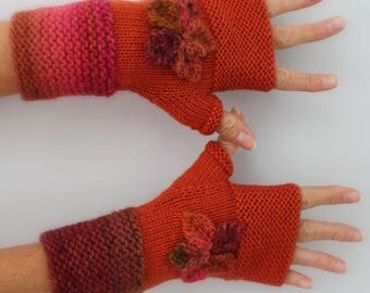 orange color with flowers hand knitted mittens