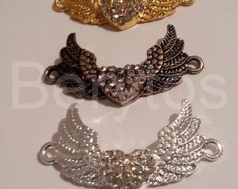 """Wings with Rhinestone """"color"""" gold plated connector"""